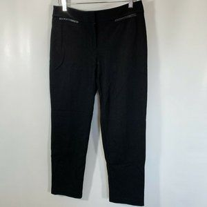 Talbots Signature Pants Black Stretch Knit Zip Fau